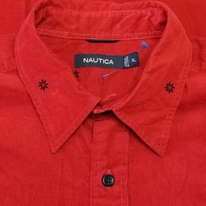 Nautica Long Sleeve Button Front Thin corduroy